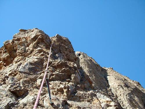 Climber on third pitch of...