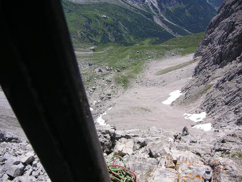 View down from summit of Parzinnturm SW
