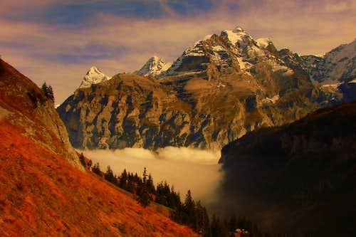 Eiger, Mönch and Jungfrau from Boganggenalp