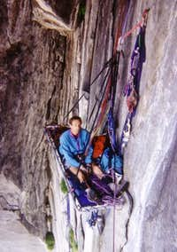 Hanging belay in the