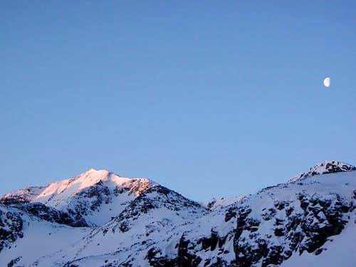The sun is setting above the Rila mountain