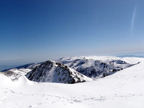 View from Musala summit, Italian mountains can be seen far away
