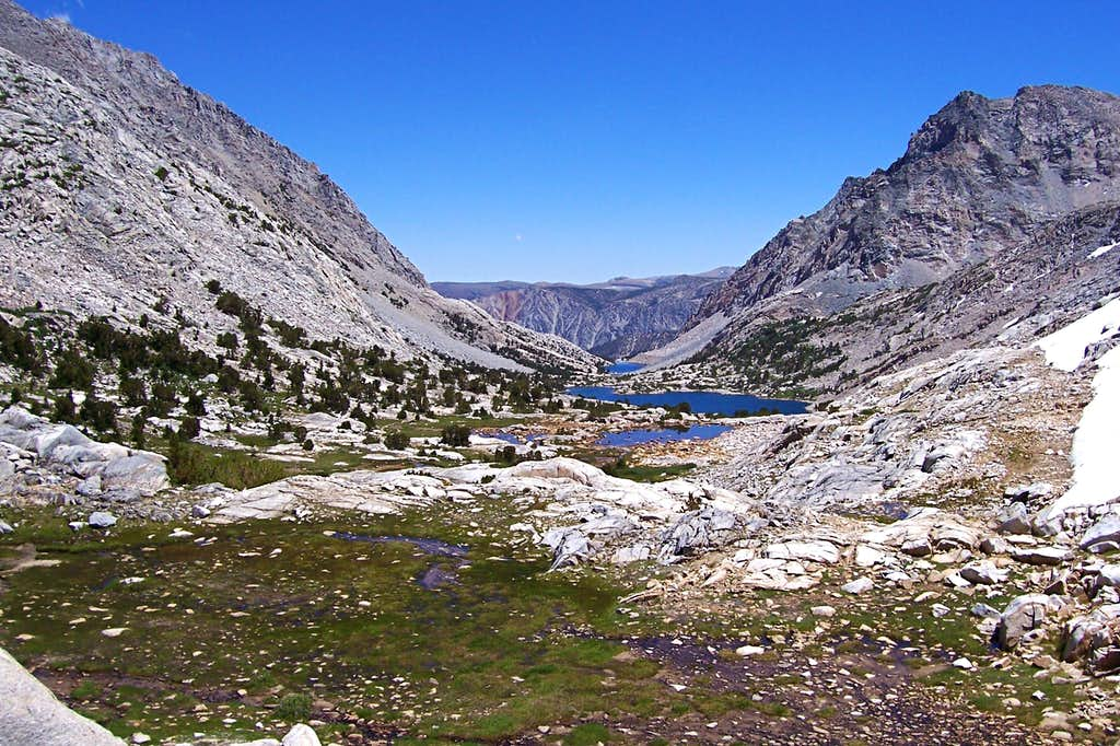 Looking down from Piute Pass