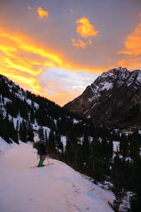 Skiing into a beautiful Sunset