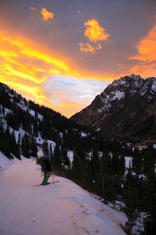 Skiing into a beautiful Sunset