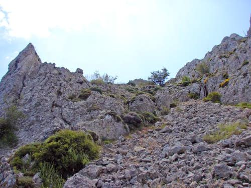 Descending the scree from Aitana