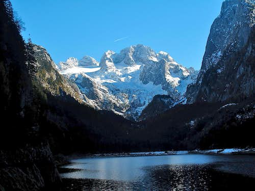 The wild Dachstein massif behind Lake Vorderer Gosausee