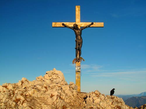 The summit cross of the Berchtesgadener Hochthron (1972m)