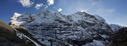 Huge panorama of Eiger, Monch and Jungfrau