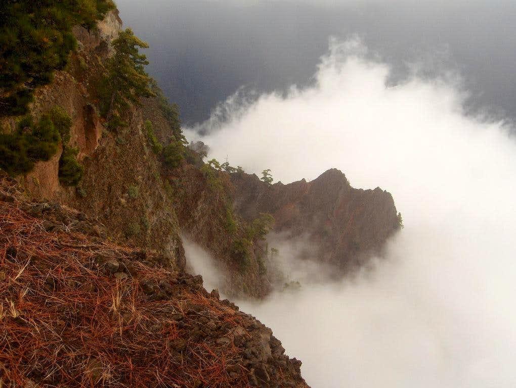 Clouds rising from Caldera de Taburiente