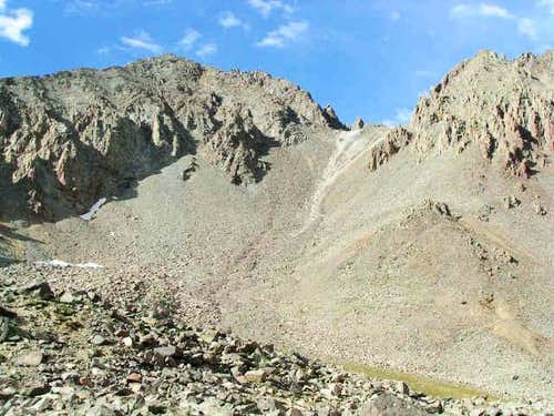 Scree gulley to Lavender Col...