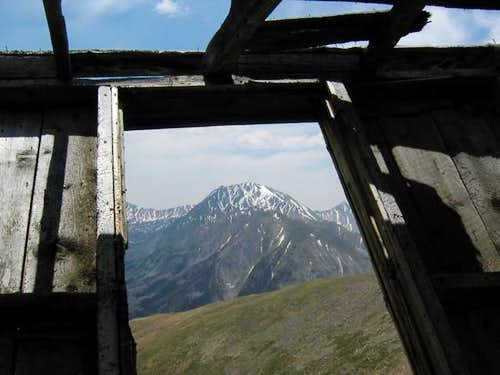 La Plata Peak framed in the...