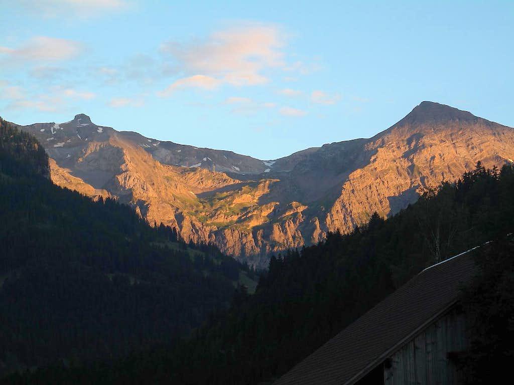 Rohrbachstein, Rawilpass and Mittaghorn (2686m) in sunset glow
