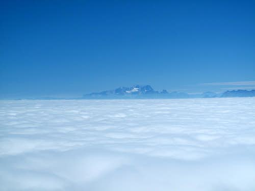 The Dachstein (2993m) rising out of the sea of clouds