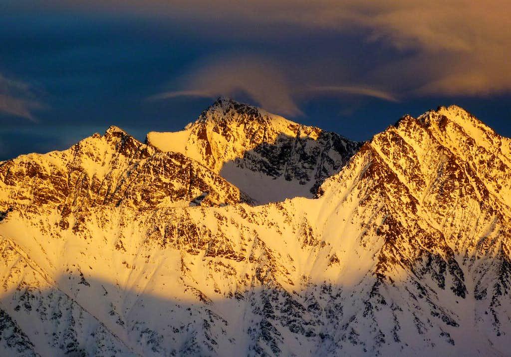 Peeking Mountain and Raina Peak