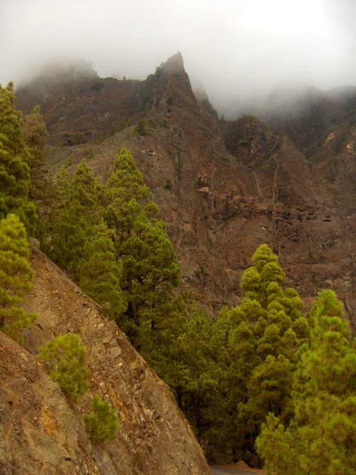 Steep crater wall