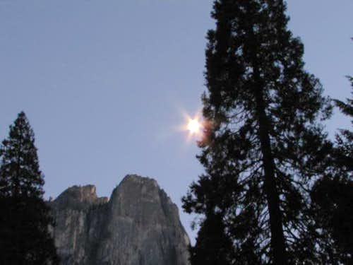 Moon over Sentinel Rock