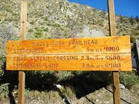 Distances to trail camps