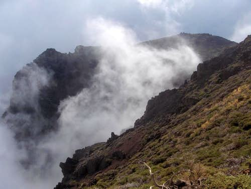 Shards of fog coming out of the crater