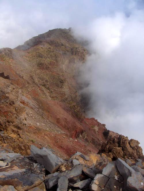 Clouds rising out of the crater