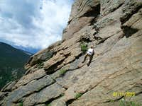 Jacquie on a 5.2 Tech climb at Lily Lake near Estes Park, CO