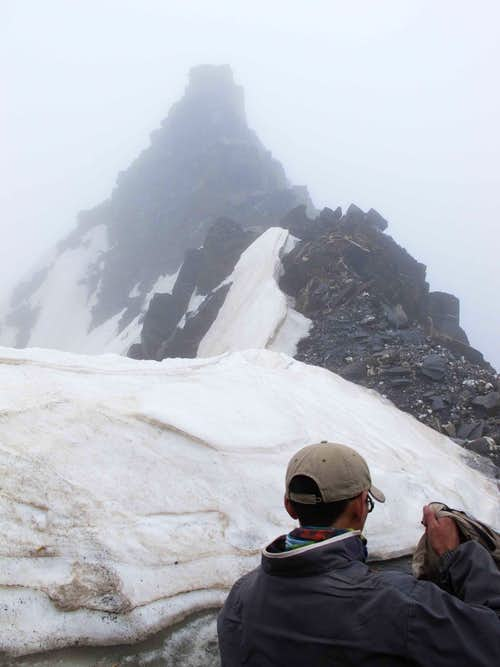 Approaching summit, looking down