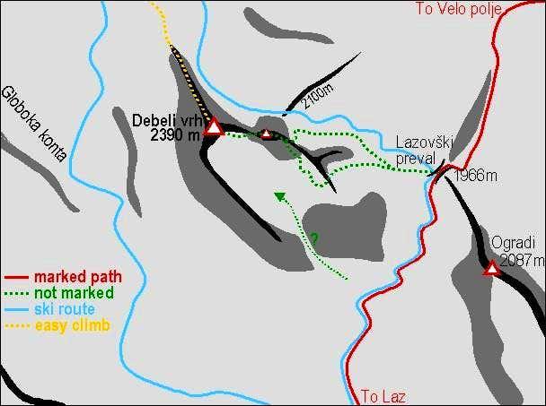 A schematic map of Debeli vrh...