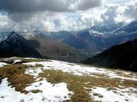 Looking towards Nassfeld and Geisselkopf (2974m) from the summit of Silberpfennig (2600m)