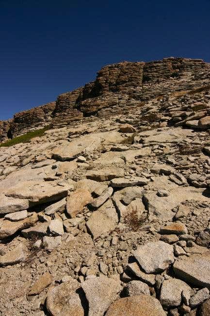 The granitic summit block of...
