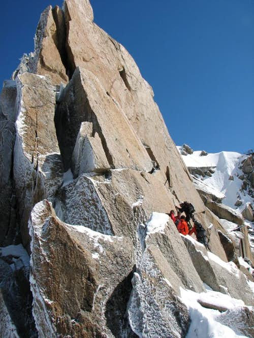 Climbers on Cosmiques Arete