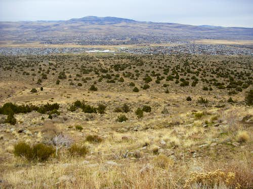 Looking back east into the desert below