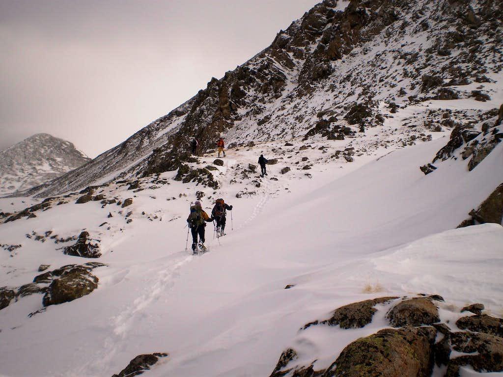 Traversing below Pacific's West Ridge