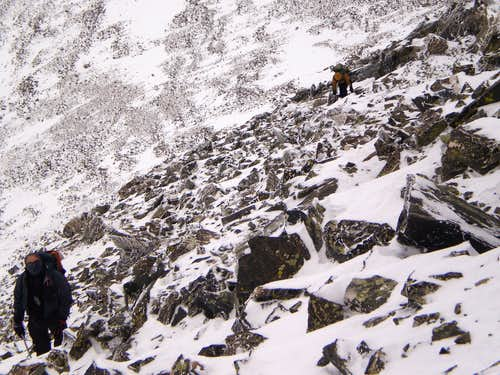 Up the North Ridge in winter conditions