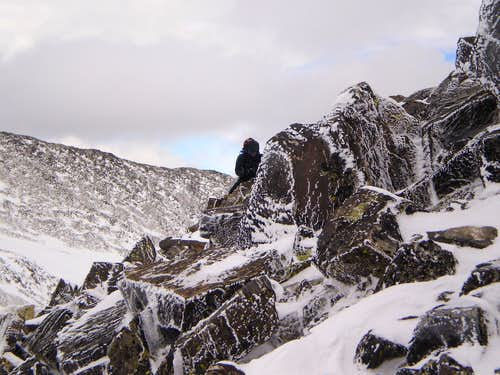 Climbing rime covered talus