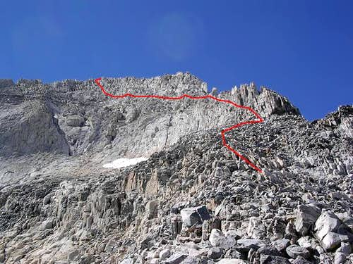 The NE Ridge/Face route from...