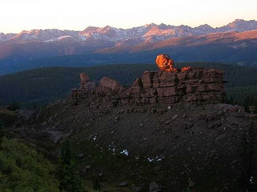 Sunset on Shrine. Gore Range...