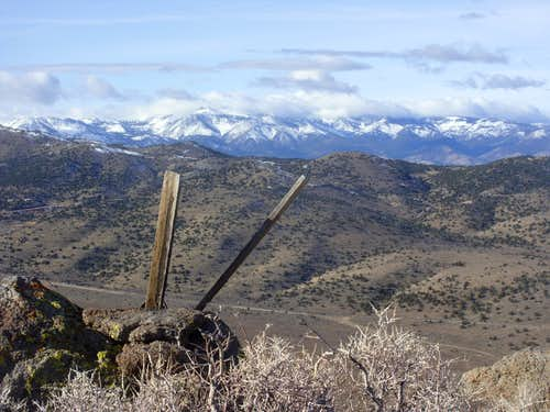 View to the Sierra Nevadas from the summit of Peak 7036