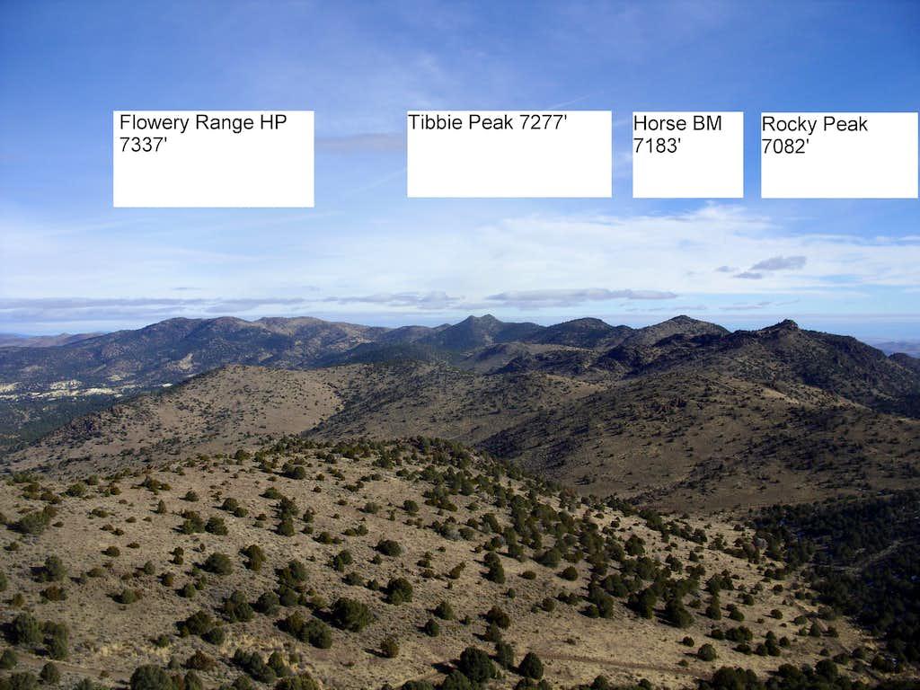 The high peaks of the Flowery Range from Peak 7036