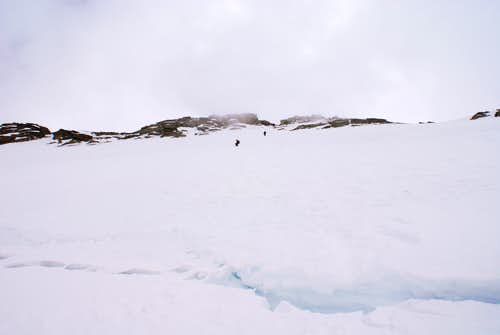 Descending from summit via NW face..