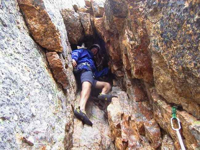 Climbing in the chimney on...