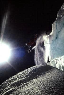 Jump over bergschrund while...