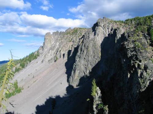 The craggy south face of...