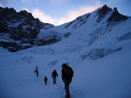 Ascending the Laveciau Glacier on Gran Paradiso