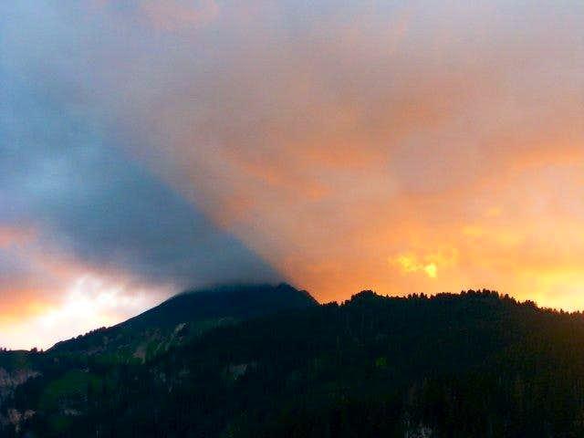Sunset on Mont de Grange...