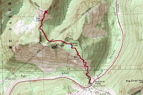 Tye Peak Map Route
