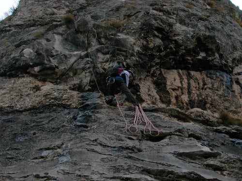 belaying under the overhang
