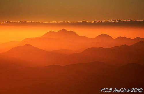 Atlas mountains at the sunset
