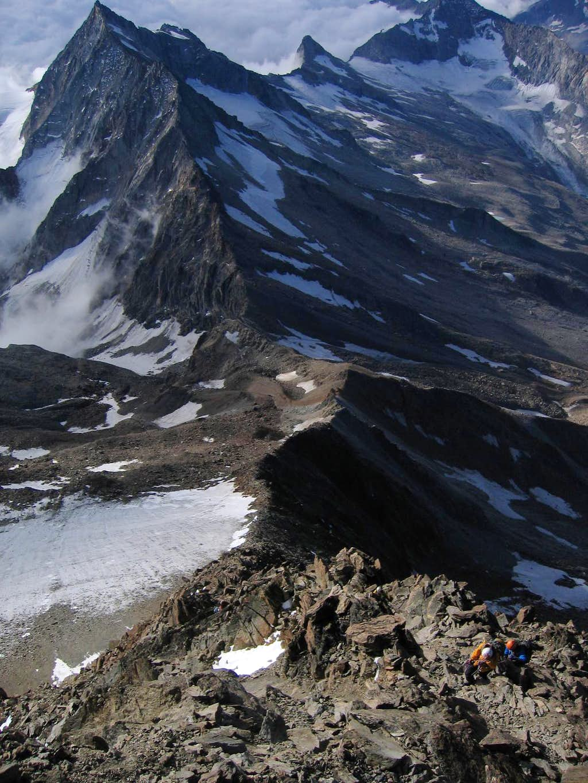 Ascending the Southeast Ridge of Weissmies