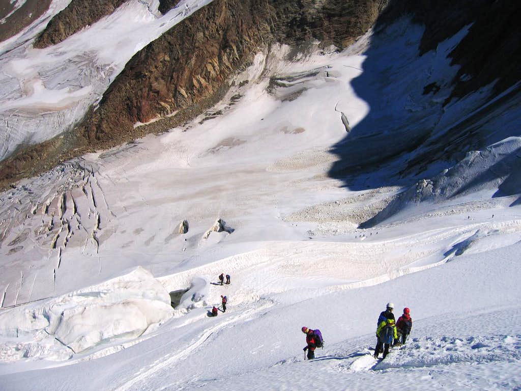 Descending the Trift Glacier on Weissmies