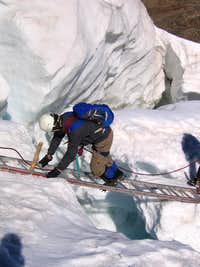 Ladder crossing the Trift Glacier of Weissmies